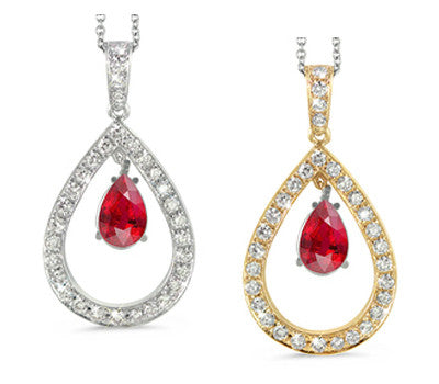 Twin Pear Shaped Ruby & Diamond Pendant Necklace