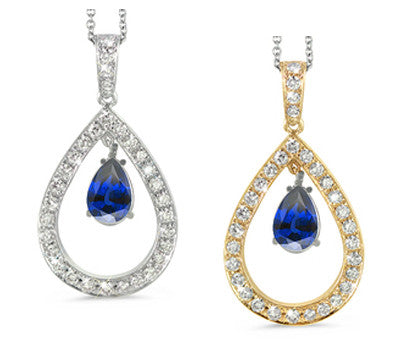 Twin Pear Shaped Blue Sapphire & Diamond Pendant Necklace