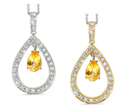 Twin Pear Shaped Yellow Sapphire & Diamond Pendant Necklace
