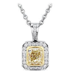 3.02 ct. Light Yellow Cushion & Pave Diamond Necklace - 0.44 ctw.