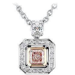 1.09 Carat Natural Fancy Orangy Pink Cushion Diamond & Pave Necklace - 0.90 ctw.