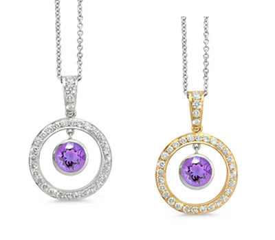 Twin Circle Pave Amethyst & Diamond Pendant Necklace