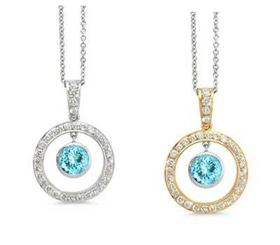 Twin Circle Pave Aquamarine & Diamond Pendant Necklace