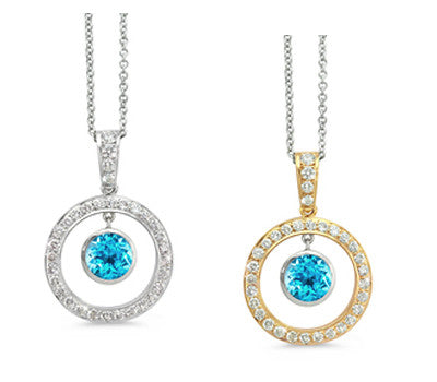Twin Circle Pave Blue Topaz & Diamond Pendant Necklace