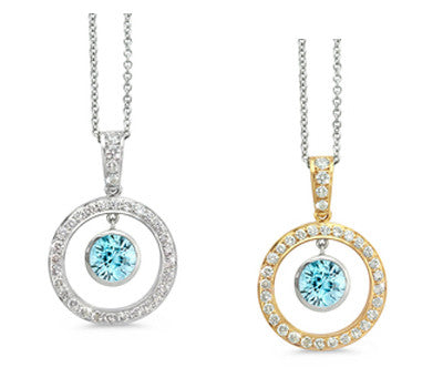 Twin Circle Pave Blue Zircon & Diamond Pendant Necklace