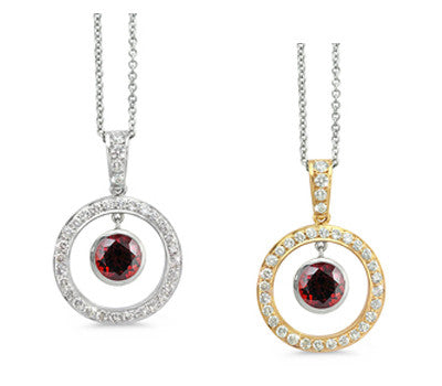 Twin Circle Pave Garnet & Diamond Pendant Necklace