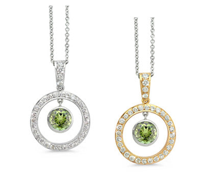 Twin Circle Pave Green Tourmaline & Diamond Pendant Necklace