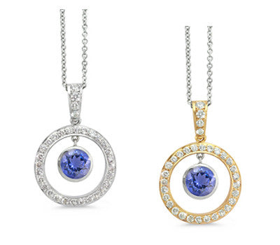 Twin Circle Pave Iolite & Diamond Pendant Necklace