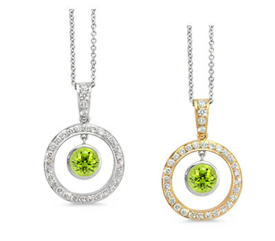 Twin Circle Pave Peridot & Diamond Pendant Necklace