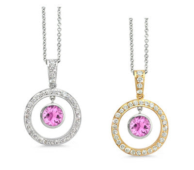 Twin Circle Pave Pink Sapphire & Diamond Pendant Necklace