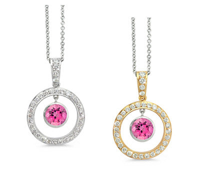 Twin Circle Pave Pink Tourmaline & Diamond Pendant Necklace