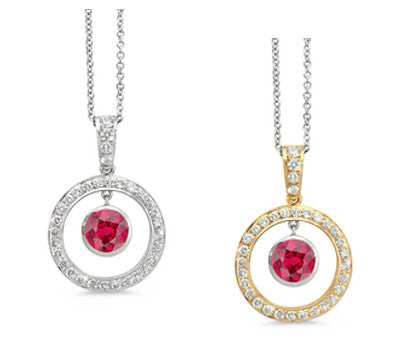 Twin Circle Pave Ruby & Diamond Pendant Necklace