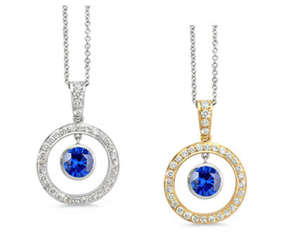 Twin Circle Pave Sapphire & Diamond Pendant Necklace