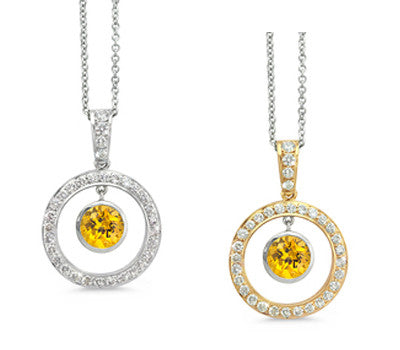 Twin Circle Pave Yellow Sapphire & Diamond Pendant Necklace