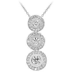Tres Circulo Dangle Diamond Necklace