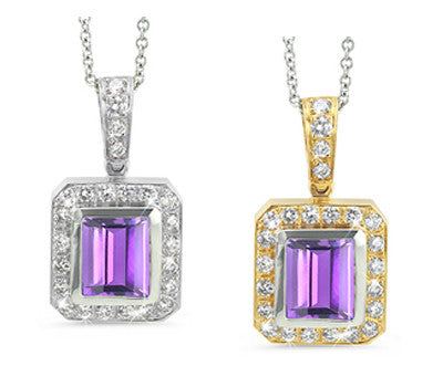 Rectangular Amethyst & Diamond Pendant Necklace