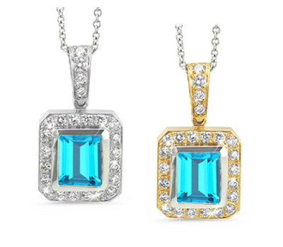 Rectangular Blue Topaz & Diamond Pendant Necklace