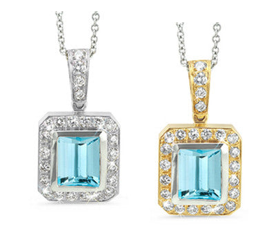 Rectangular Blue Zircon & Diamond Pendant Necklace