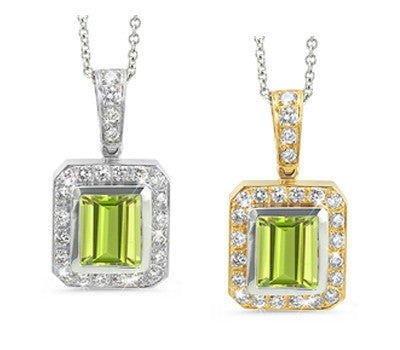 Rectangular Peridot & Diamond Pendant Necklace