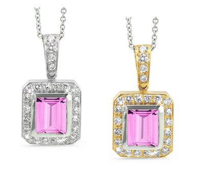 Rectangular Pink Sapphire & Diamond Pendant Necklace