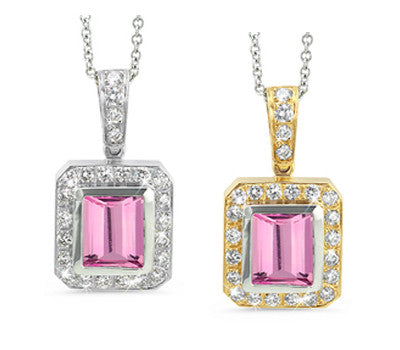 Rectangular Pink Tourmaline & Diamond Pendant Necklace