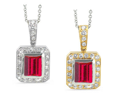 Rectangular Ruby & Diamond Pendant Necklace