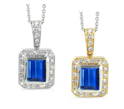 Rectangular Sapphire & Diamond Pendant Necklace