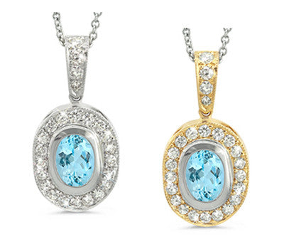 Vingage Oval Aquamarine & Diamond Pendant Necklace