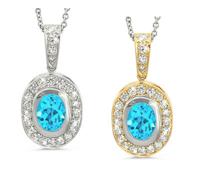 Vingage Oval Blue Topaz & Diamond Pendant Necklace