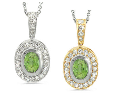 Vingage Oval Green Tourmaline & Diamond Pendant Necklace