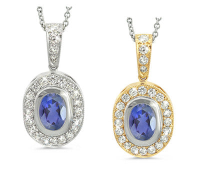 Vingage Oval Iolite & Diamond Pendant Necklace