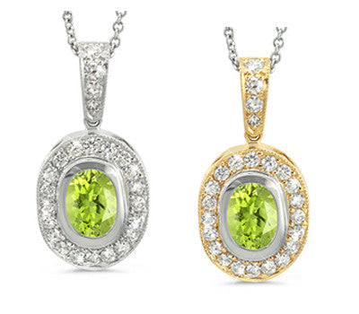 Vingage Oval Peridot & Diamond Pendant Necklace