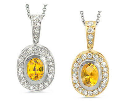 Vingage Oval Yellow Sapphire & Diamond Pendant Necklace