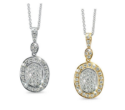 Vintage Oval Shaped Diamond Pendant Necklace