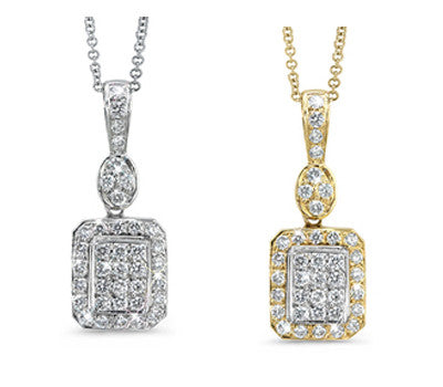 Petite Rectangle and Oval Shaped Diamond Pendant Necklace