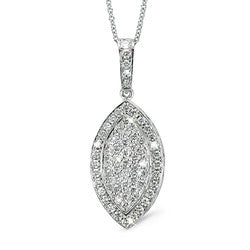 Large Marquise Shaped Diamond Pendant Necklace