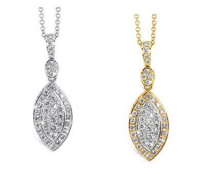 Marquise Shaped Diamond Pendant Necklace