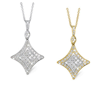 Filigree Shaped Diamond Pendant Necklace