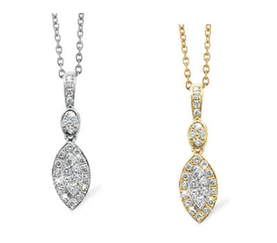Petite Marquise Shaped Diamond Pendant Necklace