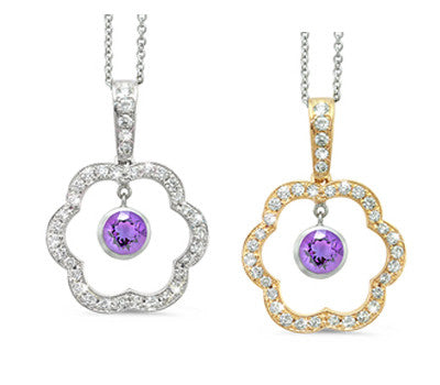Open Carnation Floral Amethyst & Diamond Pendant Necklace