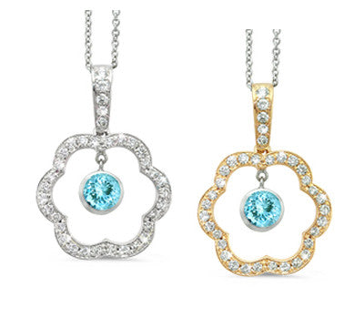 Open Carnation Floral Aquamarine & Diamond Pendant Necklace