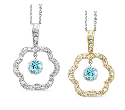 Open Carnation Floral Blue Zircon & Diamond Pendant Necklace