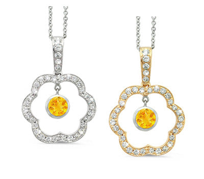 Open Carnation Floral Citrine & Diamond Pendant Necklace