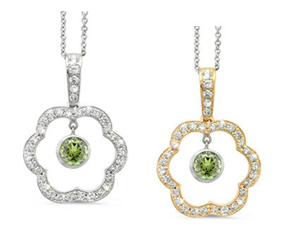 Open Carnation Floral Green Tourmaline & Diamond Pendant Necklace