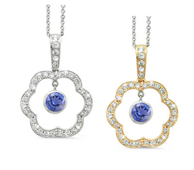 Open Carnation Floral Iolite & Diamond Pendant Necklace
