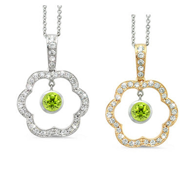Open Carnation Floral Peridot & Diamond Pendant Necklace