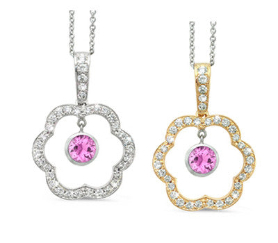 Open Carnation Floral Pink Sapphire & Diamond Pendant Necklace