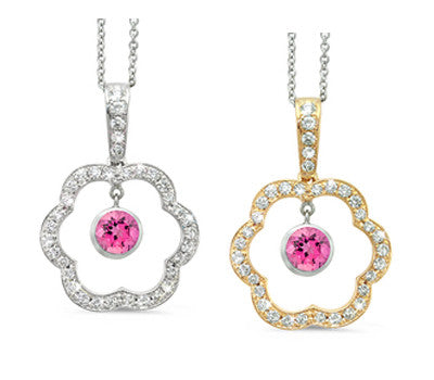 Open Carnation Floral Pink Tourmaline & Diamond Pendant Necklace