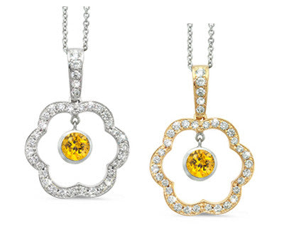Open Carnation Floral Yellow Sapphire & Diamond Pendant Necklace