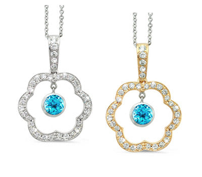 Open Carnation Floral Blue Topaz & Diamond Pendant Necklace